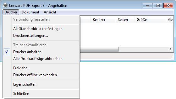 PDF Export Drucker Angehalten